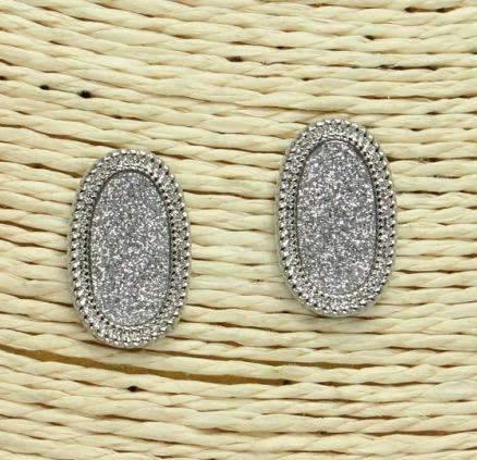 Oblong Shape Post Earrings Silver