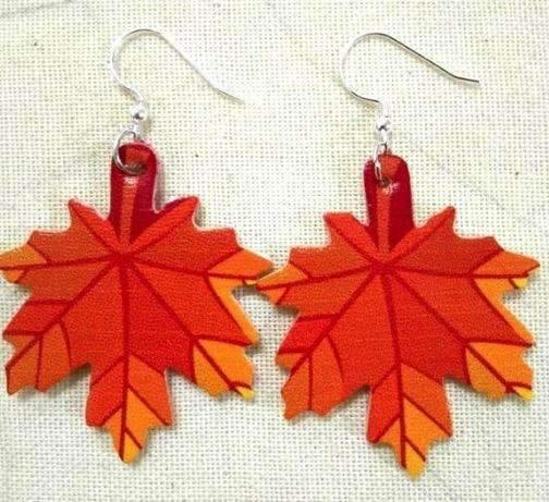 Faux Leather Earrings Fall Leaf,Live Show
