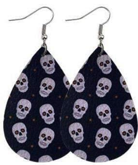 Faux Leather Earrings Skulls,Live Show