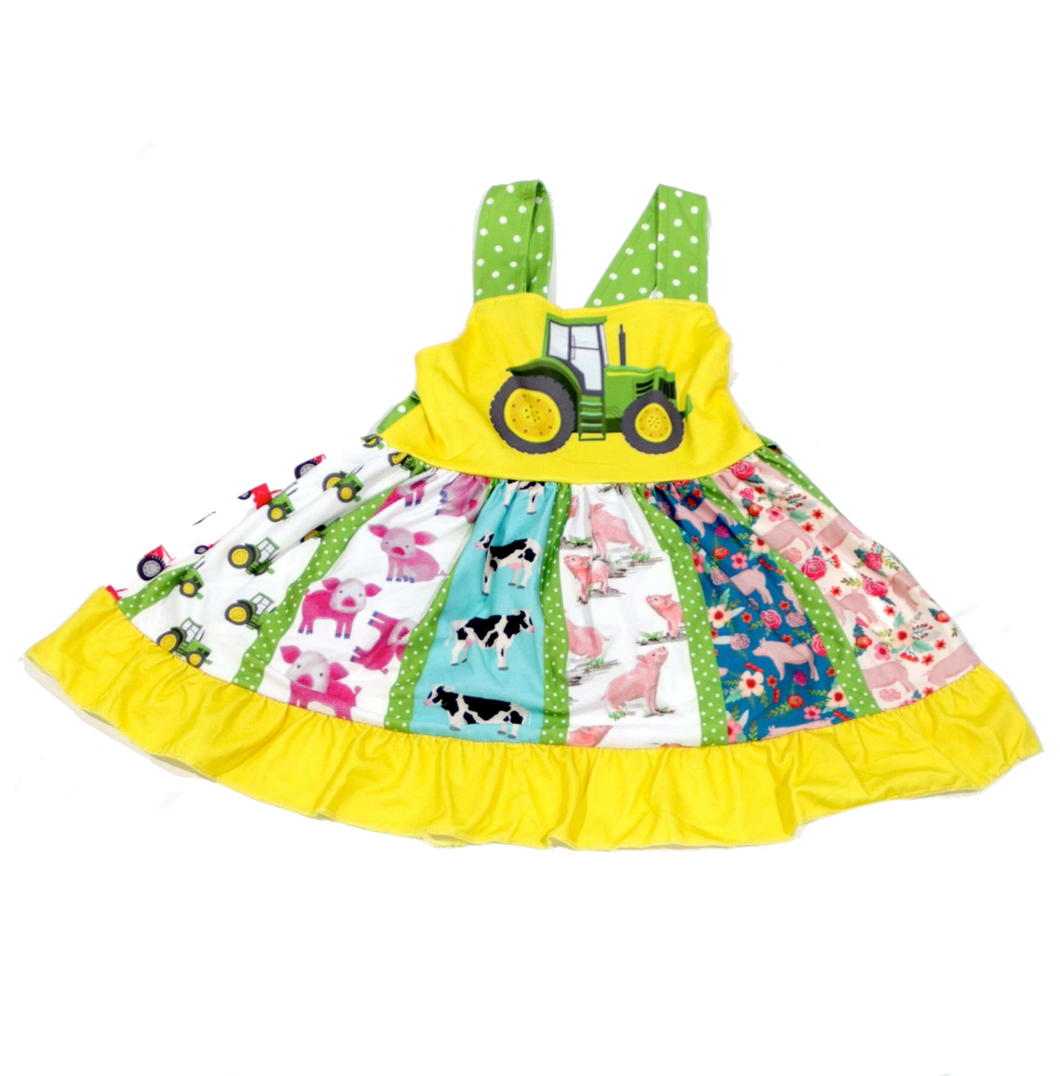 Farm Tractor Twirl Dress