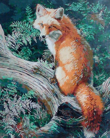 Paint It Yourself-Detailed Woodland Fox Scene In Earthtones