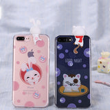iPhone 7 and 7 Plus Anti-Knock Bunny and Kitty Soft Silicon Back Cover