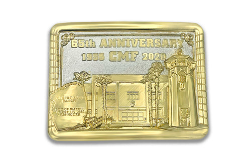 24k Gold and Silver Finish <br> Numbered Collector's Edition <br> CMF 65th Anniversary Belt Buckle