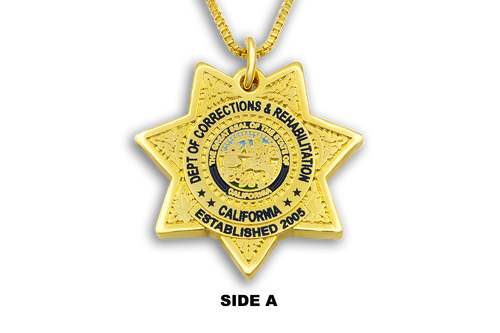 CDC/CDCR Double-Sided Necklace & Gold Chain California State Seal Department of Corrections and Rehabilitation