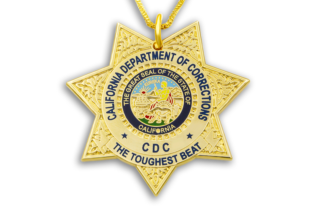 CDC Necklace & Gold Chain California State Seal Toughest Beat Department of Corrections DOC