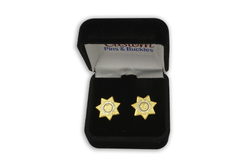 CDC Earrings Gold Star Sheriff California State Seal Department of Corrections DOC