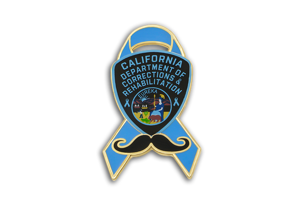 Blue Ribbon Series <br> CDCR Arm Patch & Mustache <br> Lapel Pin #1