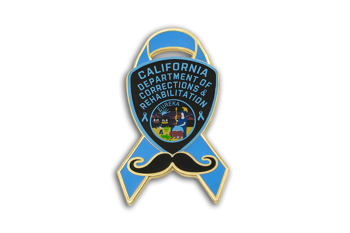Blue Ribbon Series CDCR Arm Patch & Mustache Lapel Pin #1