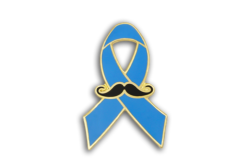 Custom Blue Ribbon Series Mustache Lapel Pin Prostate Cancer Awareness Fundraising