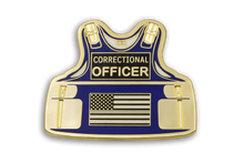 Custom Corrections Armor Vest Lapel Pin Blue Butterfly Clutch