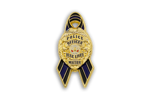"Custom Police ""Blue Lives Matter"" Ribbon Lapel Pin Law Enforcement Double Butterfly Clutch"