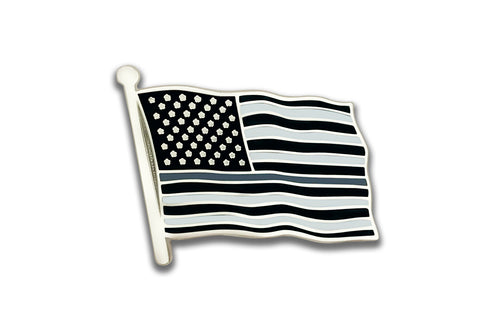 Grey Line US Flag Lapel Pin