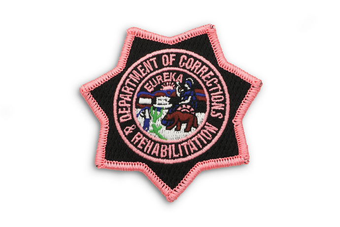CDCR Pink Ribbon Chest Badge Breast Cancer Awareness Fundraising California State Seal Department of Rehabilitation