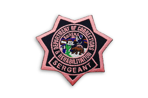 Sergeant <br> CDCR Pink Ribbon <br> Star Badge Patch