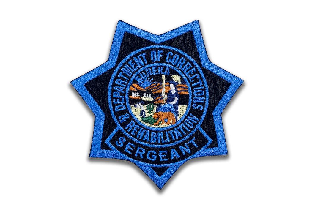 SERGEANT <br> CDCR Blue Ribbon <br> Star Badge Patch