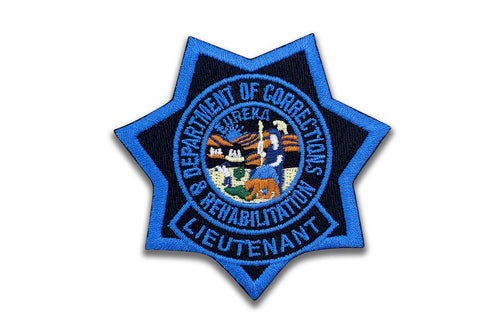 LIEUTENANT <br> CDCR Blue Ribbon <br> Star Badge Patch