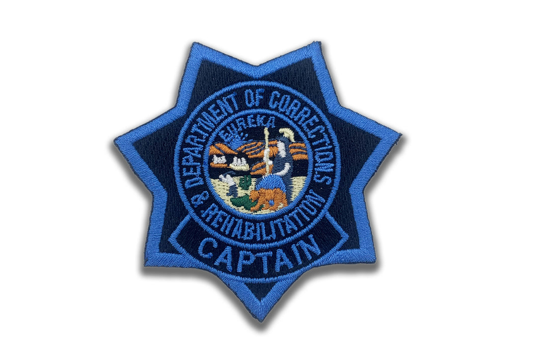 CAPTAIN <br> CDCR Blue Ribbon <br> Star Badge Patch
