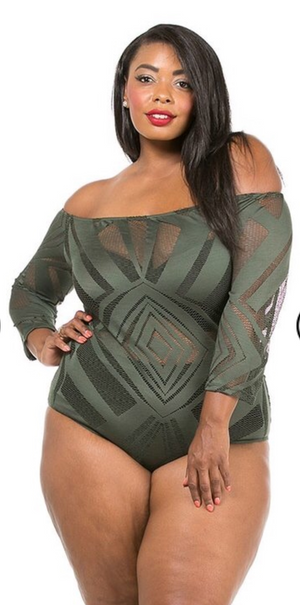 Lace Off Shoulder Plus Size swimsuit