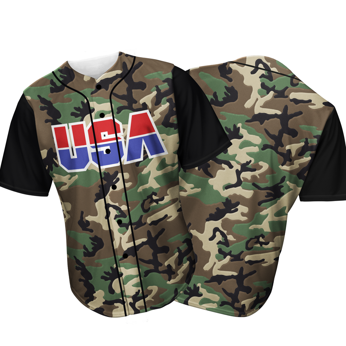 USA Baseball Jersey Camo (Green)