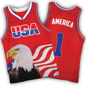 Red America #1 Jersey w/ Eagle - Basketball
