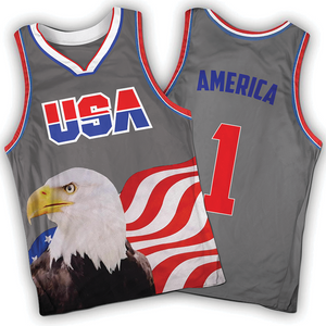 Grey America #1 Jersey w/ Eagle - Basketball