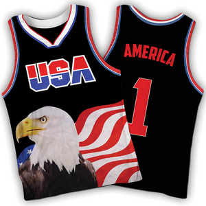 Black America #1 Jersey w/ Eagle - Basketball