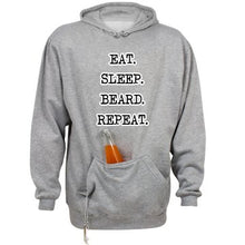 Premium EAT. SLEEP. BEARD. REPEAT. Hoodie With Beverage Holder