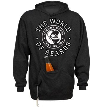 Premium THE WORLD OF BEARDS. Hoodie With Beverage Holder