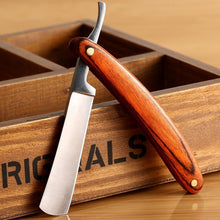 Barber Straight Edge Razor with Wooden Handle.