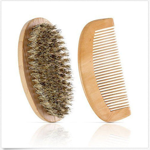Wooden Beard Comb and Brush Combo Kit with Bag.