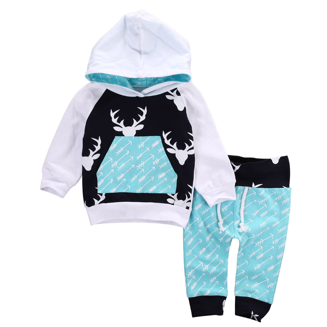 c41a24adc Christmas Kids Baby Girls Boys Reindeer Hooded Tops +Pants Outfits Set 2pcs  suit baby boy