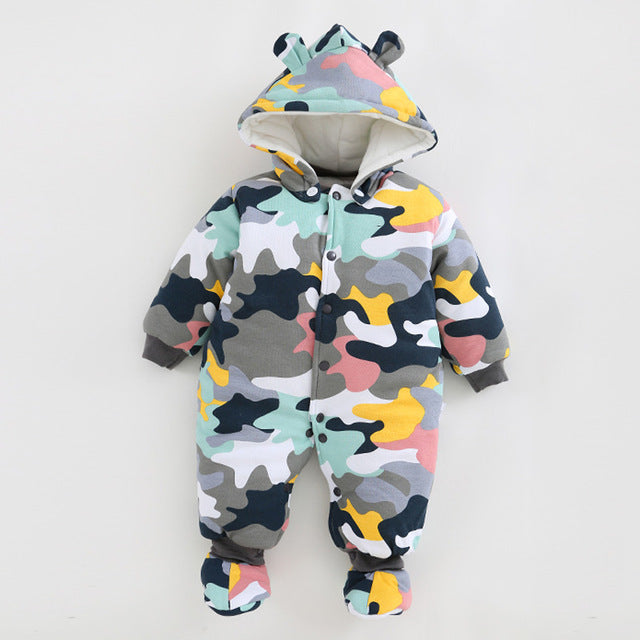 Boys' Baby Clothing Rompers 2017 New Baby Rompers Winter Thick Warm Baby Boy Clothing Long Sleeve Hooded Jumpsuit Kids Newborn Outwear For 0-12m