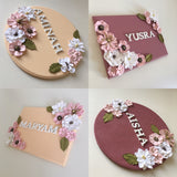 Personalised Name Floral Door Plaque