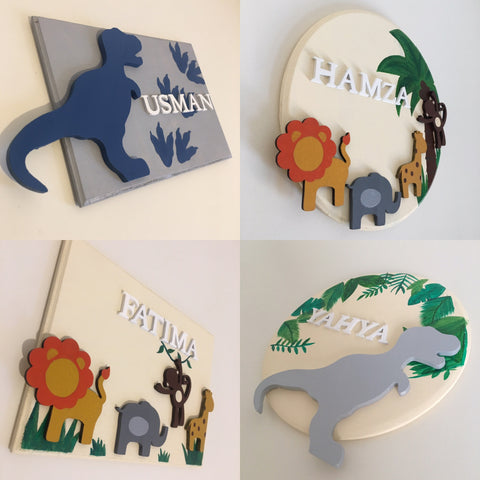 Personalised Name Animal Dinosaur Door Plaque