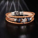 Vintage Look Star Leather Bracelet - 3 Colours Available