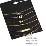 Set of 6 Mixed Chain Bracelets - 2 Colours Available Silver and Gold