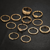Vintage Style Gold Midi Rings - 12 Piece Set