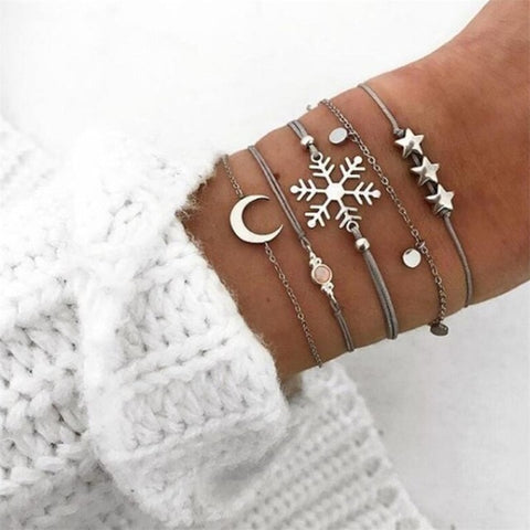 Moon, Snowflake, Stars - Set of Bracelets