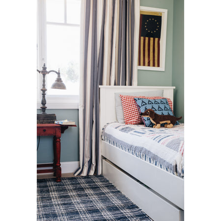 Denim Plaid - Woven Cotton Rug