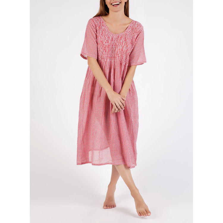 Cotton Voile House Dress - Red Gingham Smocked