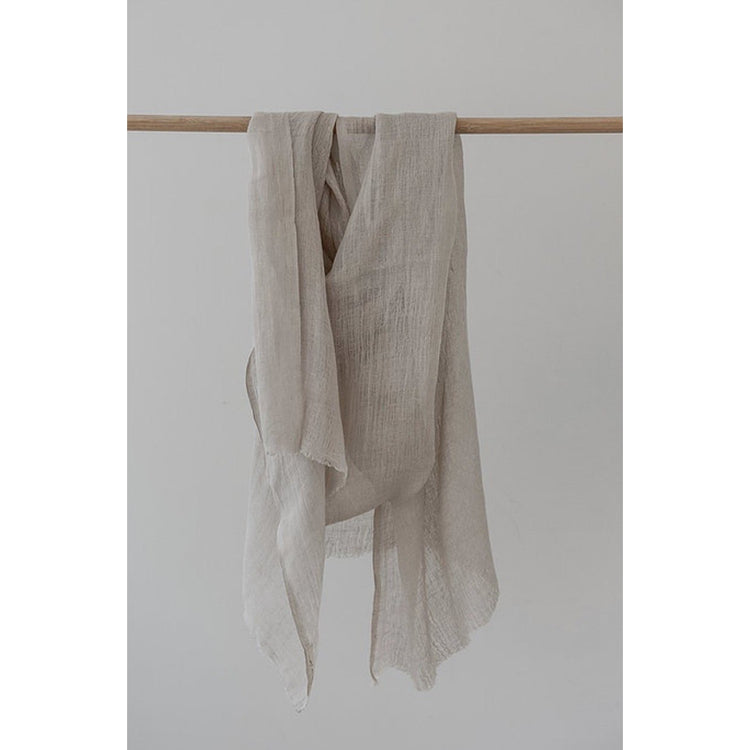 Handwoven Linen Scarf - Stone
