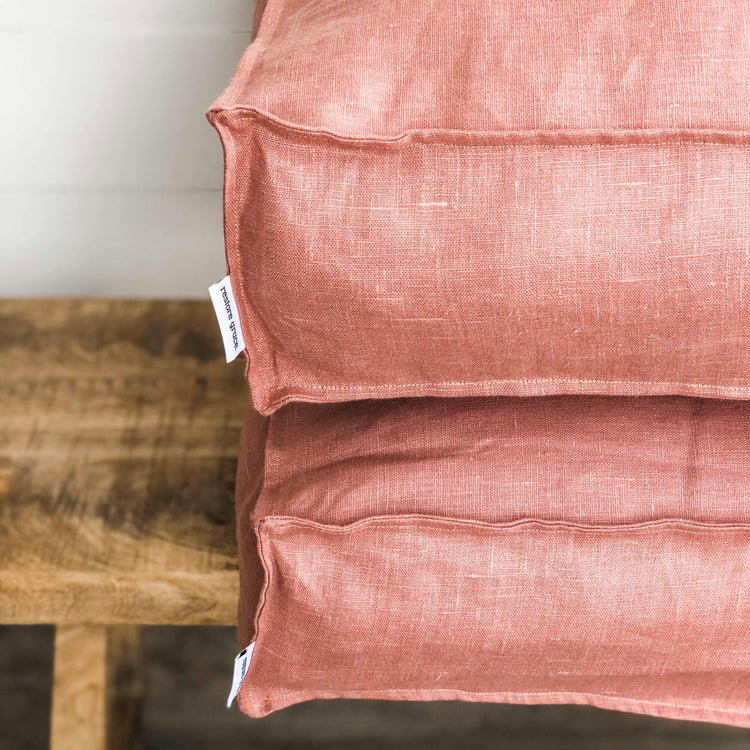 Floor Cushion - Blush Pink Linen