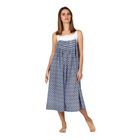 Cotton Voile Nightdress - Navy and White