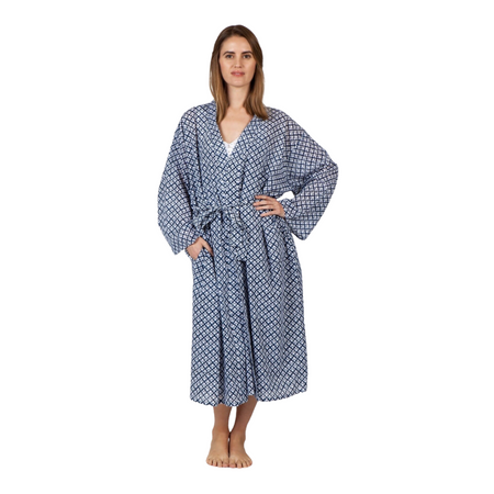 Sleepwear Robe - Navy and White