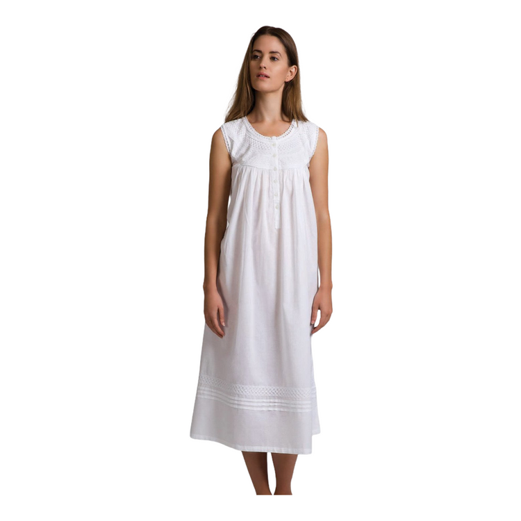 Cotton Voile Nightdress - Country Style