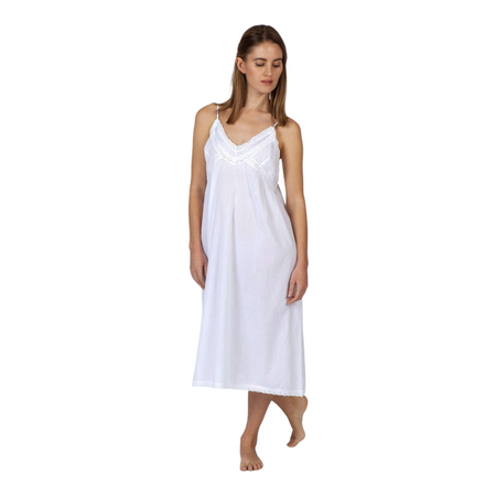 Cotton Voile Nightdress - White V Neck