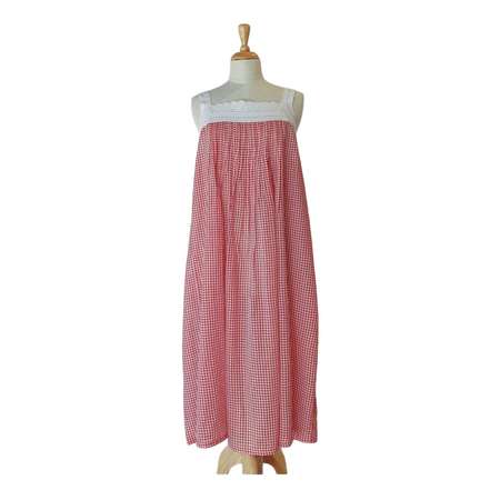 Cotton Voile Nightdress - Red Gingham Pink Tuck