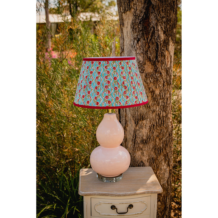 Gathered Lampshade - Raspberry and Aqua Floral
