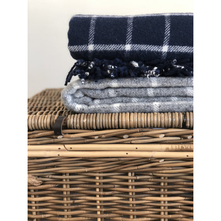 Chequered Check Throw in Navy