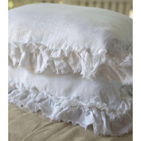 Ruffled Edge Pillowcase - White Linen
